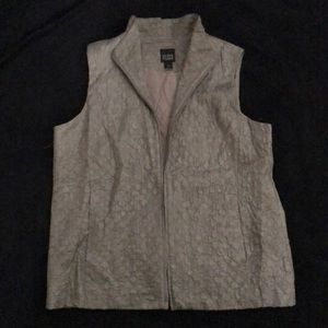 EILEEN FISHER Patterned Collared Zip Up Vest EUC